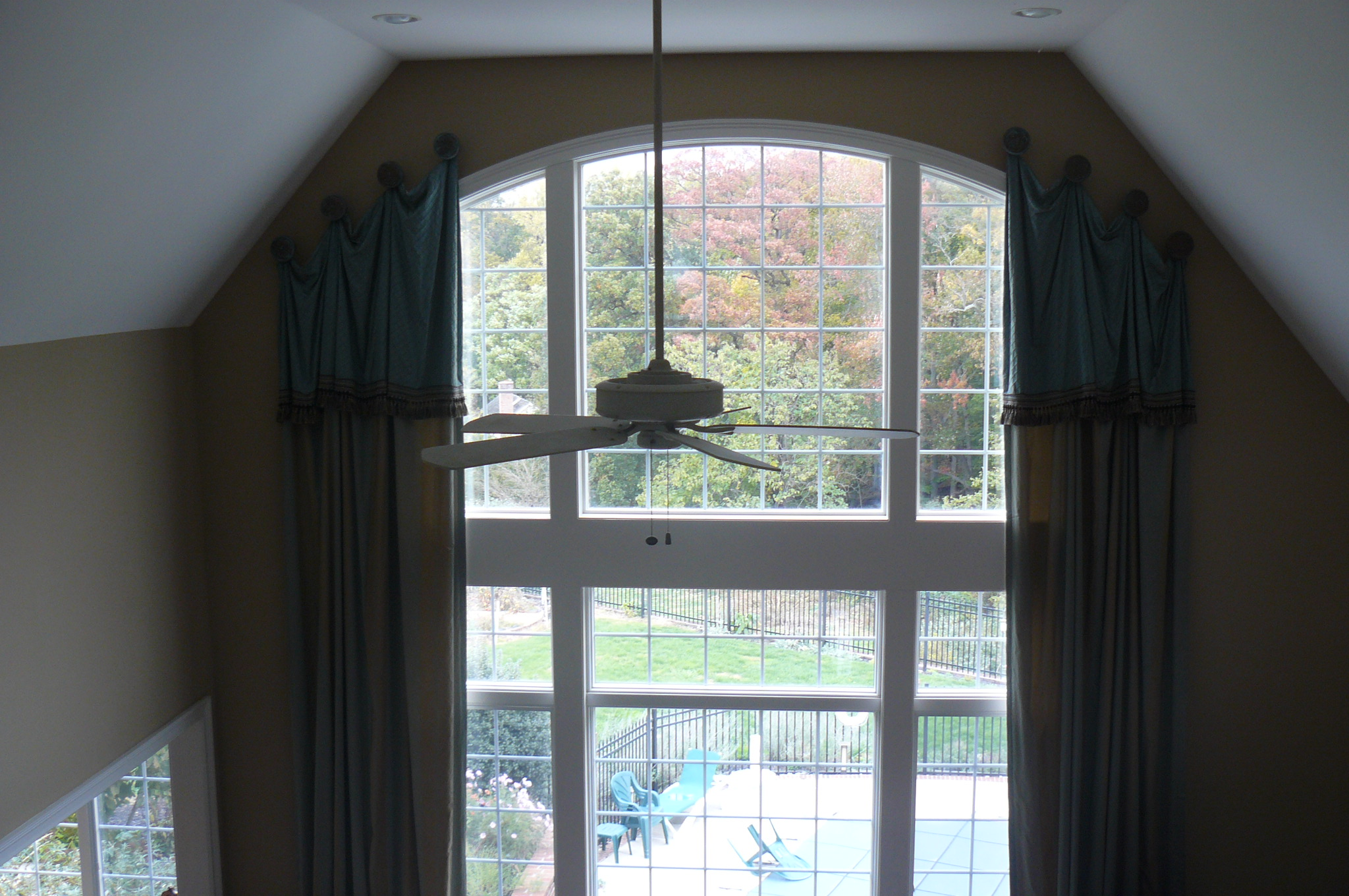 Window treatments for 2 story family room window treatments