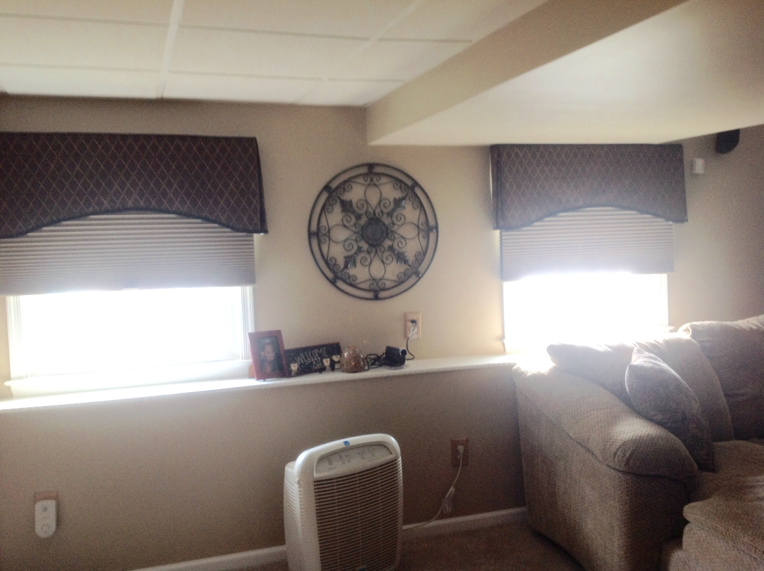 Family Room windows after installation of arched treatments