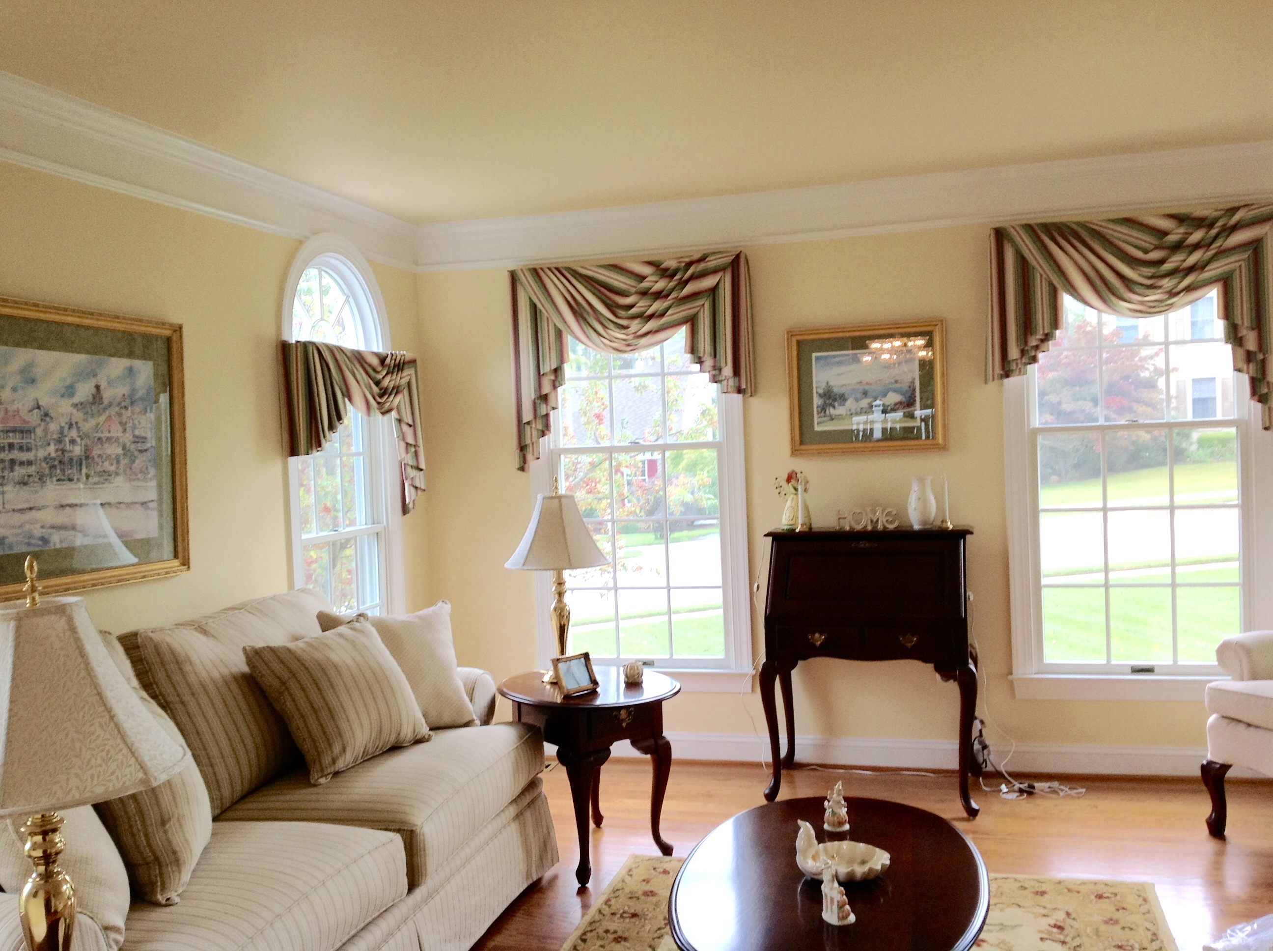 Living Room with swag valances